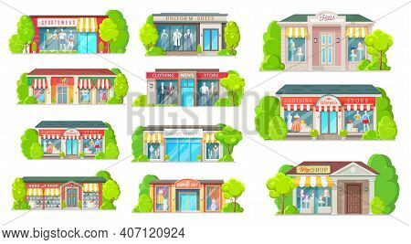 Store And Shop Buildings Isolated Vector Icons. Cartoon Shopping Malls Exterior Front View With Glas