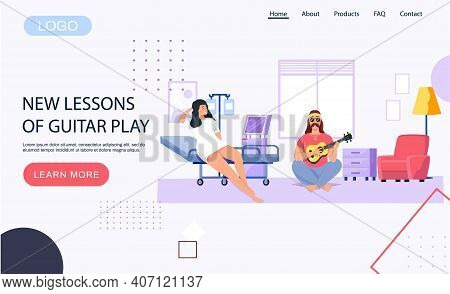 Man Playing Musical Instrument. Character Creates Music. Website With New Lessons Of Guitar Play. Pe