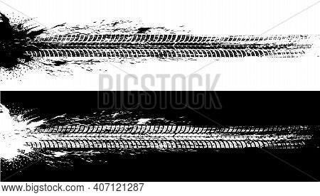 Car Tires Print, Grunge Off Road Wheels Marks. Automobile Black And White Traces, Vehicle Rubber Tre