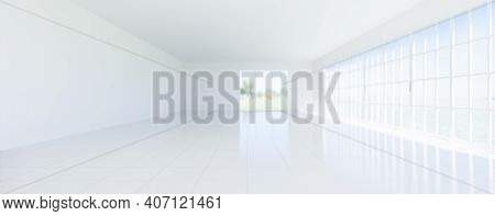 3d Rendering Of Empty Room And White Tile Floor With Grid Line And Shiny Reflection With Clear Glass