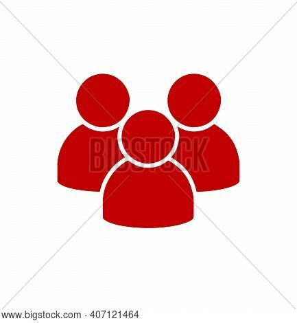 Red Flat Icon On Group Of People Isolated On White Background