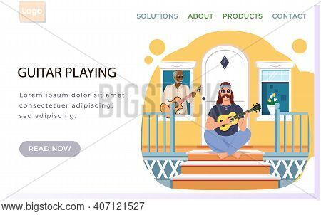 Elderly Man Sings On Doorstep Of House. Bard With Ukulele. Website About Guitar Playing. Characters