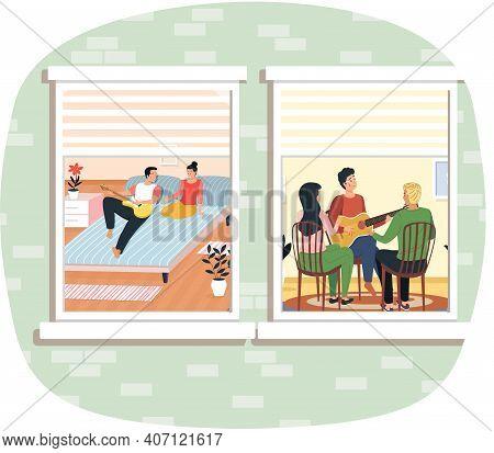 Neighbors Sing Songs And Play Guitar View Through Window. Coronavirus, Social Isolation, Quarantine