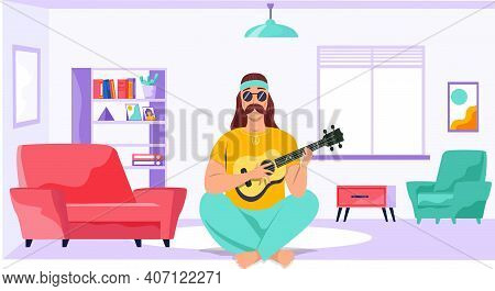 Male Bard With Ukulele In Hands. Musician Is Playing Strings On Instrument. Person Creates Music. Gu