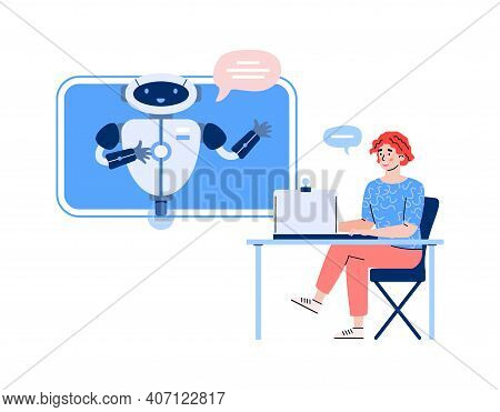 Woman Communicating With Chatbot Robot Via Computer, Cartoon Vector Illustration Isolated On White B