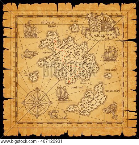 Pirate Treasure Scroll Map With Vector Sketches Of Sea, Filibuster Islands And Ships, Marine Travel
