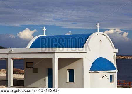 Cape Greco, Cyprus - 08 Jan 2016: The Small Church On Cape Greco, Cyprus
