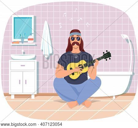 Male Bard With Ukulele In Hands. Musician Is Playing Strings On Instrument. Person Creates Music. Ma
