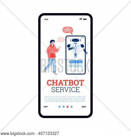 Chatbot Service Application Onboarding Page Design, Cartoon Vector Illustration. Chatbot And Technic