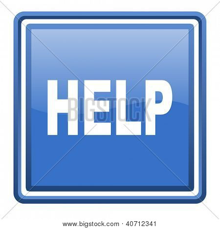 help blue glossy square web icon isolated