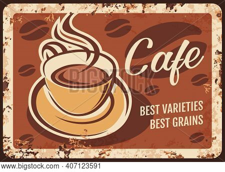 Steaming Coffee Cup With Fresh Drink And Steam Rusty Metal Plate. Vector Premium Quality Coffee Beve