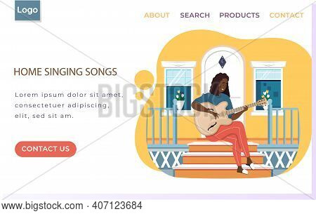 Woman Sings Song. Girl Sits On Doorstep Of Her House With Guitar. Person Creates Music. Female Chara