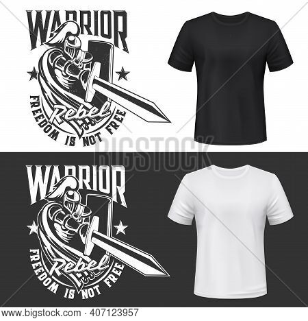 Tshirt Print With Knight And Sword Vector Mockup, Medieval Warrior In Helmet Attack With Shield. Mon