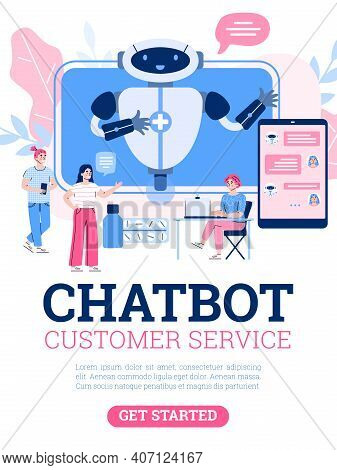 Vector Poster With Medical Chatbot, Robot On Screen For Service And Support Patients. People Use Tec