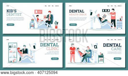 Dental Clinic With Patients In Medical Hospital Chairs, Doctors Dentist And Medicine Dental Tools An