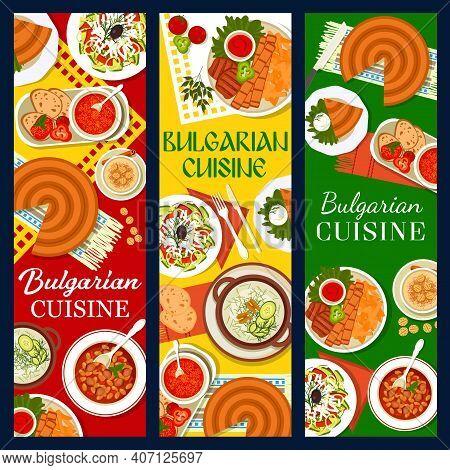 Bulgarian Cuisine Restaurant Menu Banner. Shopska Salad, Tomato Pepper Chutney Lutenitsa And Rice Pu