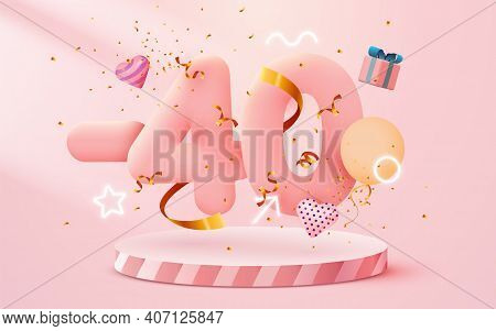 40 Percent Off. Discount Creative Composition. 3d Sale Symbol With Decorative Objects, Heart Shaped