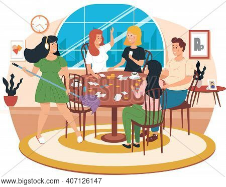 Cartoon Characters With Board Game. Girl With Headphones Plays Mop Like Guitar. Friends Are Having F