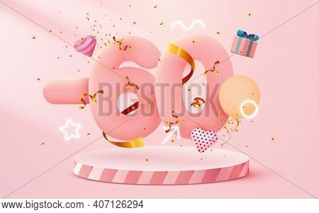 60 Percent Off. Discount Creative Composition. 3d Sale Symbol With Decorative Objects, Heart Shaped