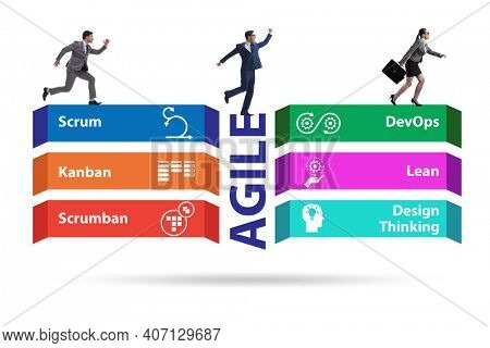 Business people in various agile methods concept