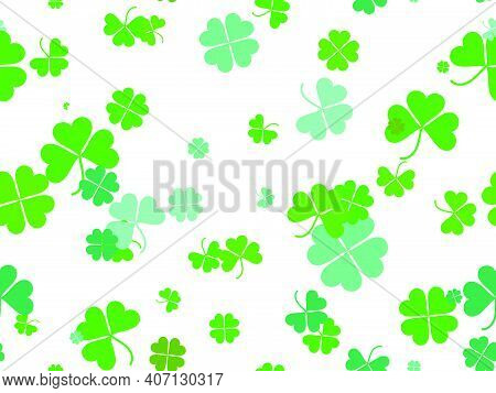 Seamless Pattern With Clover For Saint Patrick's Day. Green Shades Of Four-leafed And Three-leafed C