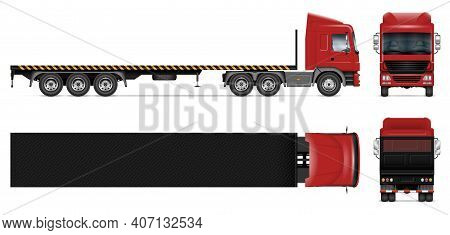 Flatbed Trailer Truck Vector Mockup On White For Vehicle Branding, Corporate Identity. View From Sid