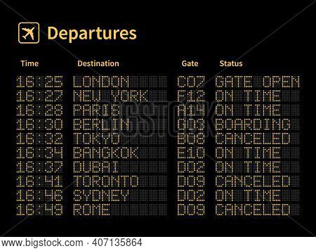 Airport Led Board. Aircrafts Departures And Terminal Number Gate Timetable Information, Light Yellow