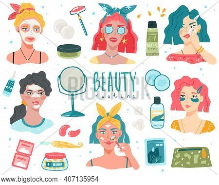 Beauty Routine Women. Young Girls Face Skin Caring, Organic Cosmetic Products, Girl Portraits With F