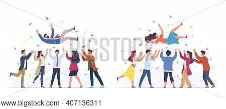Tossing In Air. People Group Throwing Colleague, Birthday Celebrating, Victory Congratulate, Busines