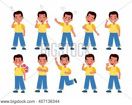 Boy Emotions. Cute Child Character In Different Emotional Poses, Face Expressions, Teenage Moods, Po