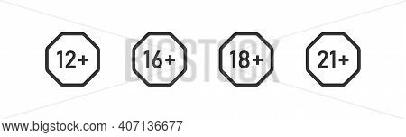 Age Limit. Set Icons 12, 16, 18 And 21 Plus. Vector Isolated