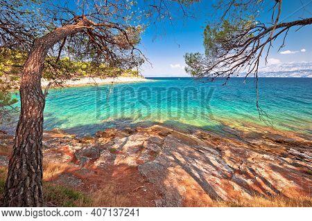 Amazing Turquoise Stone Beach On Brac Island View, Archipelago Of Dalmatia, Croatia