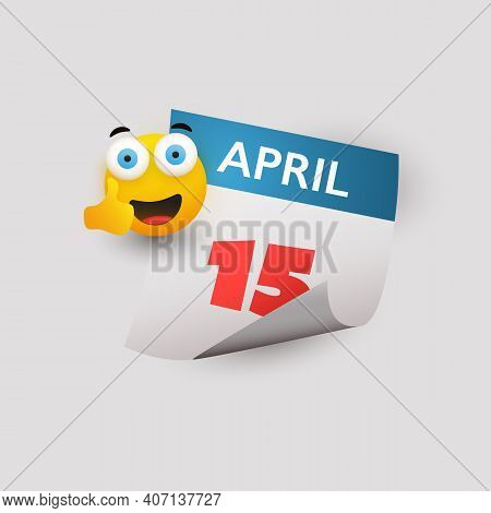 Usa Tax Day Concept - Calendar Design Template - Tax Deadline, Due Date For Federal Income Tax Retur