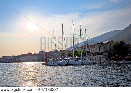 Town Of Bol On Brac Island Waterfront Sunset View, Dalmatia Archipelago Of Croatia