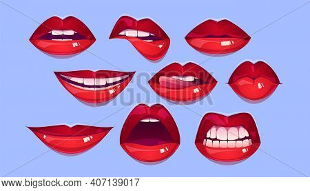 Female Red Lips, Sexy Woman Mouth With Smile, Kiss, Bite, Teeth And Tongue. Vector Cartoon Collectio