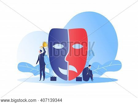Imposter Syndrome.man Standing For Him Present Profile With Face Mask Anxiety And Lack Of Self Confi