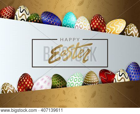 Easter Design With Brown Oblique Curtains, Set Of Patterned Eggs