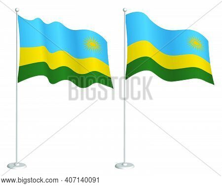 Flag Of Republic Of Rwanda On Flagpole Waving In Wind. Holiday Design Element. Checkpoint For Map Sy