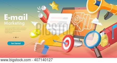 3d Vector Conceptual Illustration Of Email Marketing And Advertising Campaign.