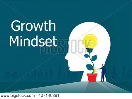 Businessman Watering Plants With Light Bulb For Put Think Growth Mindset Concept Vector