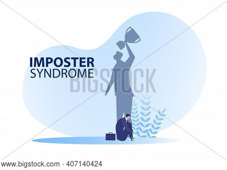 Imposter Syndrome.man Sitting  For Her Present Profile Anxiety And Lack Of Self Confidence At Work;
