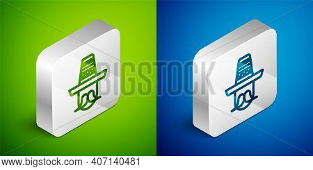 Isometric Line Mexican Man Wearing Sombrero Icon Isolated On Green And Blue Background. Hispanic Man