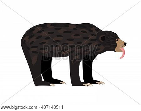 Brown Wild Bear. Cartoon Aggressive Beast, Character Of Wildlife For Hunting Trophy, Vector Illustra