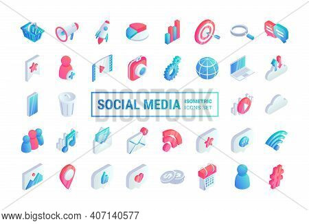 Isometric Social Media Flat Icons Big Set. 3d Network Concept Symbols With Chat, Video, Email, Phone