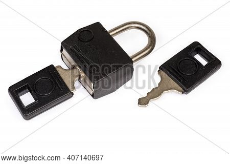 Small Traditional Detachable Luggage Lock With Two Keys On A White Background