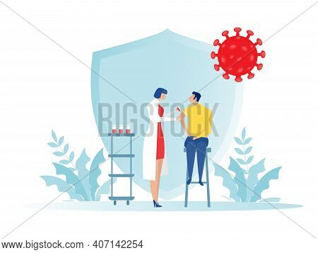 Female Doctor With Syringe Makes Vaccinations, Health Vaccination Doctor, Immunization In Clinic Vec