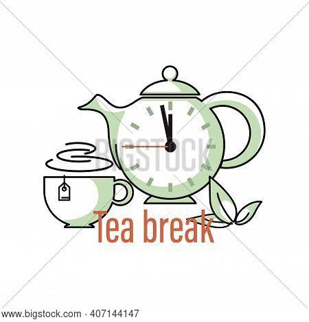 Tea Break. Teapot, Clock. Icon, Emblem. Green Tea. Cup, Green Fresh Mint Leaves. Design For Web, App