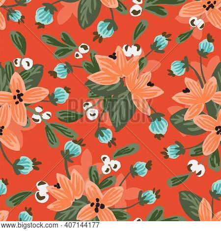 Crimson Flower Land Love Seamless Vector Pattern.lovely Hand Painted Floral Bouquet Pattern In Peach