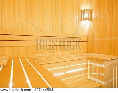 Wooden Sauna Interior Wood-fired Sauna With Led Lighting