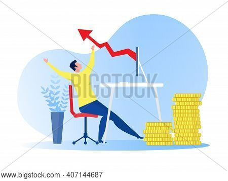 Businessman Glad With Red Tie Jumping With Joy Because Of Business Profit Growing Business Online Ve